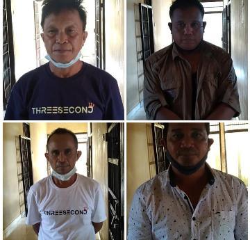 Empat pelaku saat diamankan di Mapolres Lamandau, Senin (18/1).