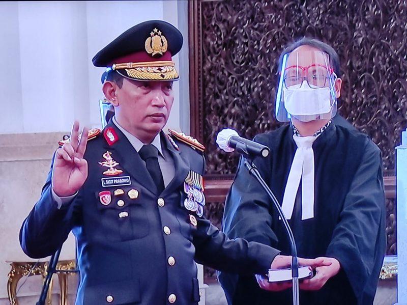 Komjen Pol. Drs. Listyo Sigit Prabowo, M.Si saat dilantik, Rabu (27/1).