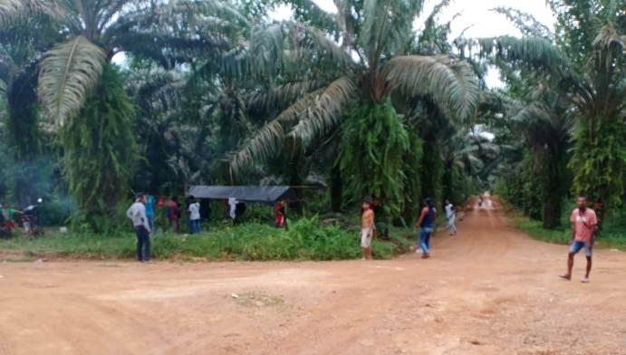 Warga saat berada di kebun PT KMA dan bersiap memasang portal, Senin (22/2).