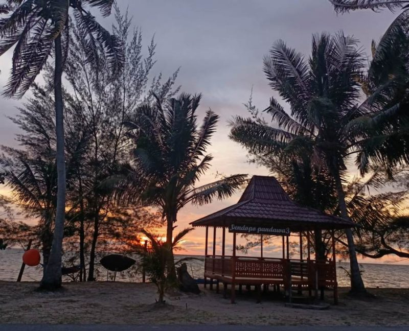 Objek wisata Pantai Keraya saat pagi hari, Sabtu (27/2).
