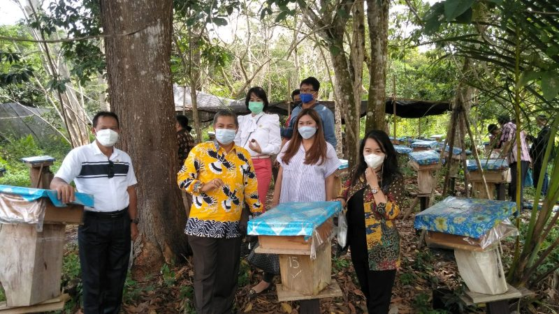Jajaran Komisi II DPRD Kalteng, pada saat meninjau budi daya madu kelulut. Foto : Ra